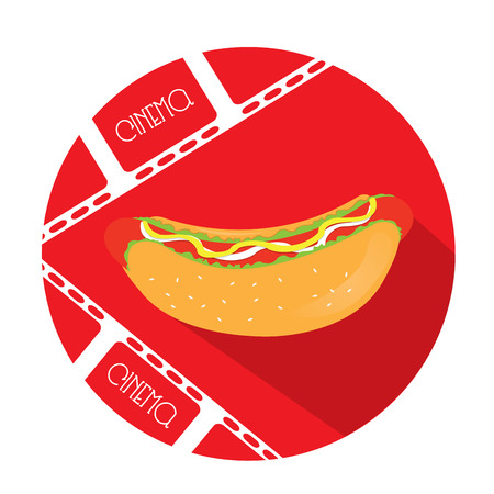 red button: Isolated red button with a pair of filmstrips and a hot dog icon