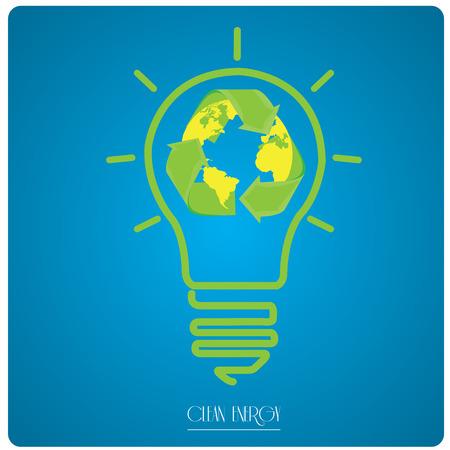 reciclable: icono de bombilla aislado con nuestro planeta y un símbolo reciclable en un fondo azul con el texto