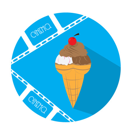 filmstrips: Isolated blue button with a pair of filmstrips and an ice cream