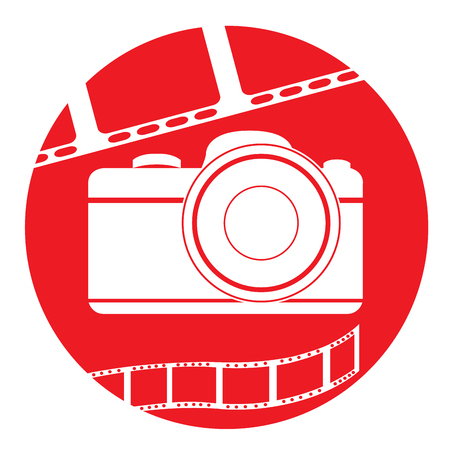 filmstrips: Isolated red button with a pair of filmstrips and a camera Illustration