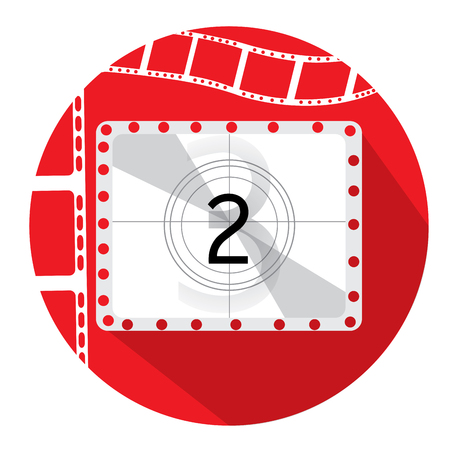 cinema screen: Isolated red button with a pair of filmstrips and a cinema screen Illustration