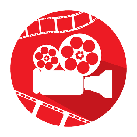 filmstrips: Isolated red button with a pair of filmstrips and a cinema camera