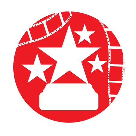 filmstrips: Isolated red button with filmstrips and some stars on a white background
