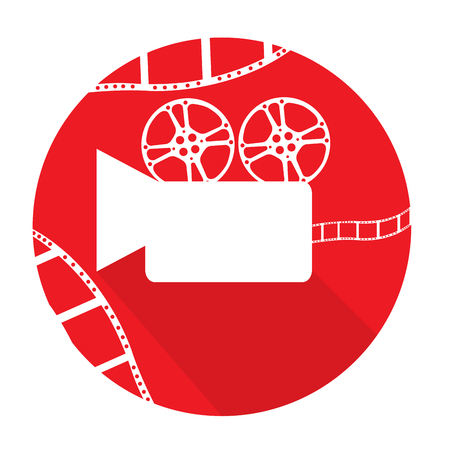 filmstrips: Isolated red button with a silhouette of a cinema camera and filmstrips Illustration