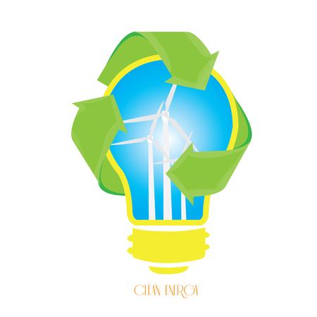 reciclable: Bombilla aislada con un símbolo reciclable y algunas turbinas eólicas