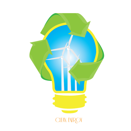 recyclable: Isolated lightbulb with a recyclable symbol and some wind turbines Illustration