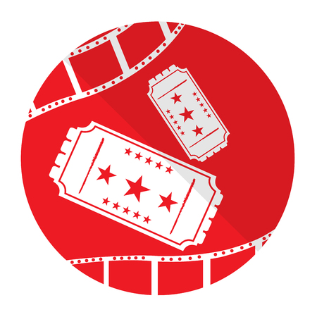 filmstrips: Isolated red button with a pair of tickets and filmstrips
