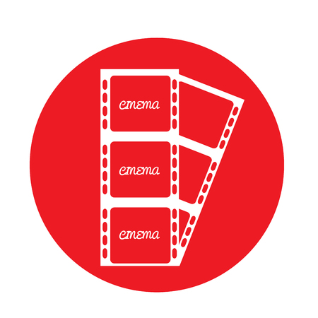 filmstrips: Isolated red button with a pair of filmstrips on a white background Illustration
