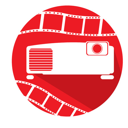 filmstrips: Isolated red button with filmstrips and a cinema icon Illustration