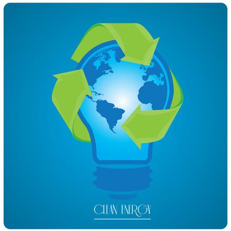 reciclable: bombilla aislada con nuestro planeta y un símbolo reciclable en un fondo azul con el texto
