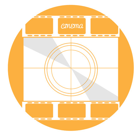 filmstrips: Isolated yellow button with a pair of filmstrips and a cinema screen