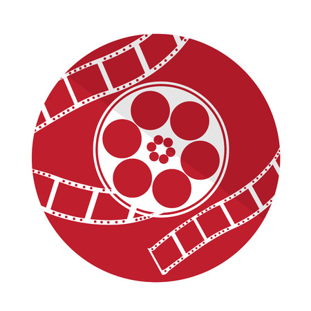 filmstrips: Isolated red button with a group of filmstrips on a white background