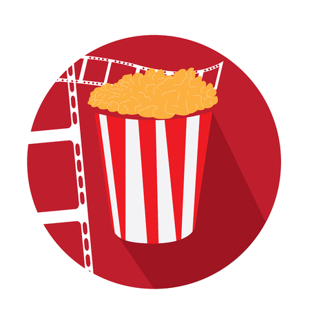 filmstrips: Isolated red button with filmstrips and a popcorn icon Illustration