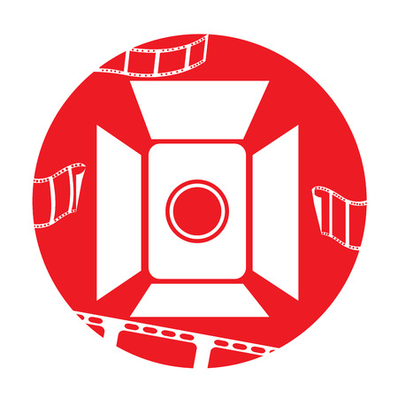 cine: Isolated red button with some filmstrips and a cinema icon