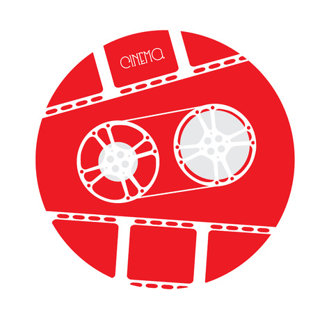 cine: Isolated red button with a filmstrip and a cinema icon