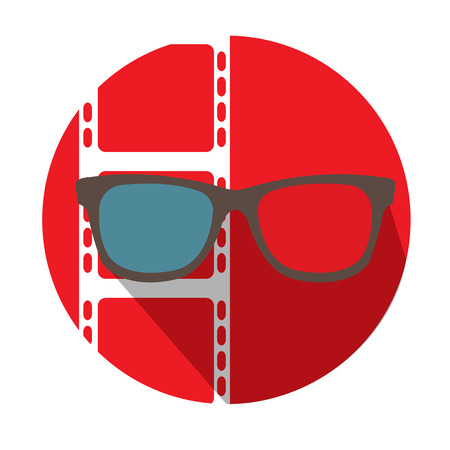 cine: Isolated red button with a filmstrip and a 3d glasses icon