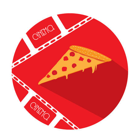 filmstrips: Isolated red button with a pair of filmstrips and a pizza Illustration