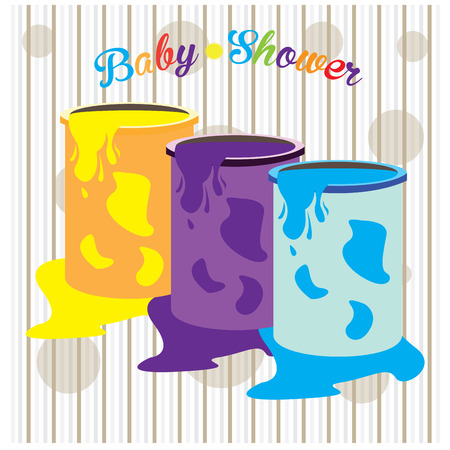 buckets: Striped background with buckets of paint and text