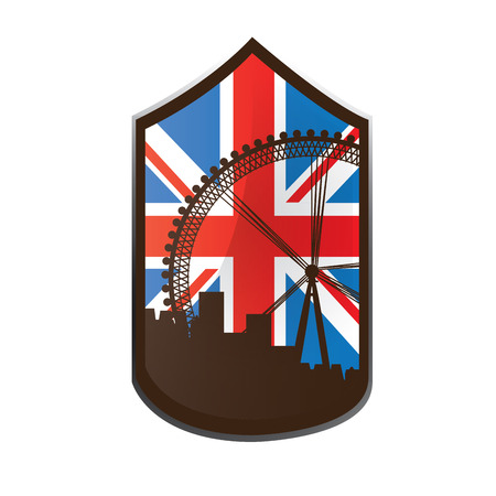 london eye: Isolated banner with the flag of the United Kingdom and a silhouette of the London eye