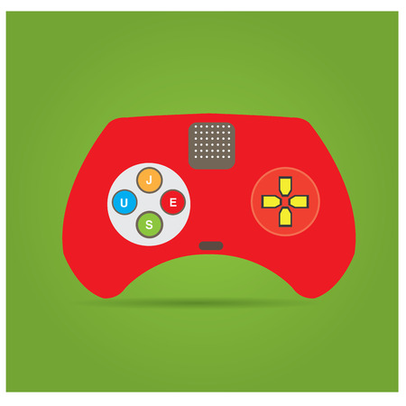joy pad: Isolated video game joystick on a green background Illustration