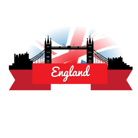 london cityscape: Isolated cityscape of London with a ribbon with text and the flag of the United Kingdom Illustration