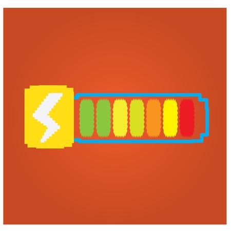 energy bar: Isolated energy bar with a thunder icon on an orange background