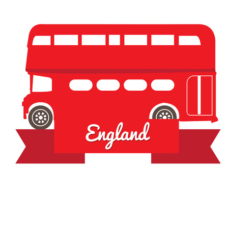 london bus: Isolated silhouette of a traditional London bus with a ribbon with text Illustration