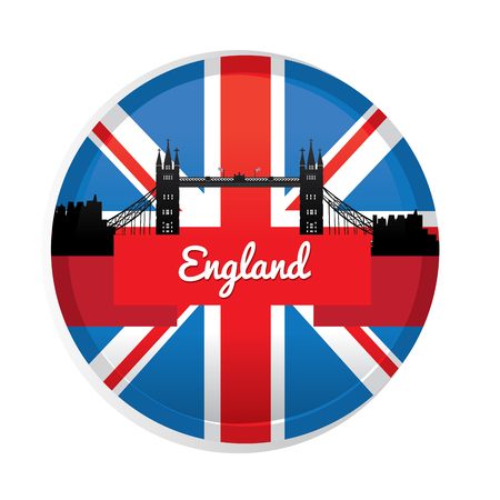 london cityscape: Isolated label with a ribbon with text, the flag of the United Kingdom and a London cityscape