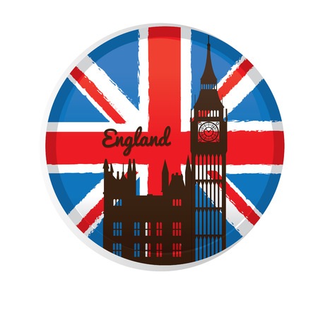 Isolated banner with text, the flag of the United Kingdom and a silhouette of the Big Ben