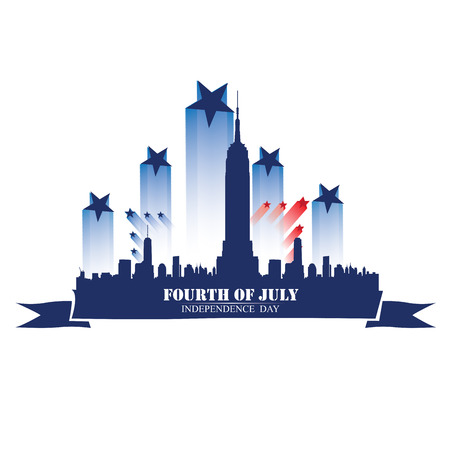 new york skyline: Isolated skyline of New York with some stars and a ribbon with text for independence day celebrations