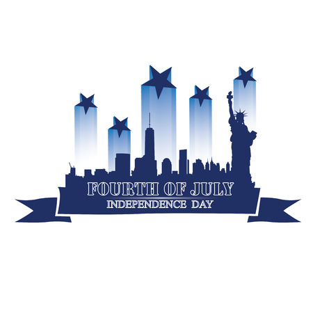 new york skyline: Isolated skyline of New York with a ribbon with text and stars for independence day celebrations