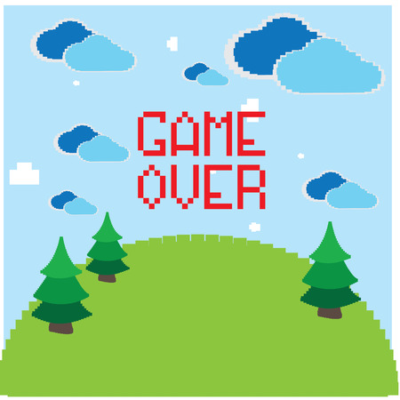 pixeled: Colored pixeled backgrond with text, clouds and trees Illustration