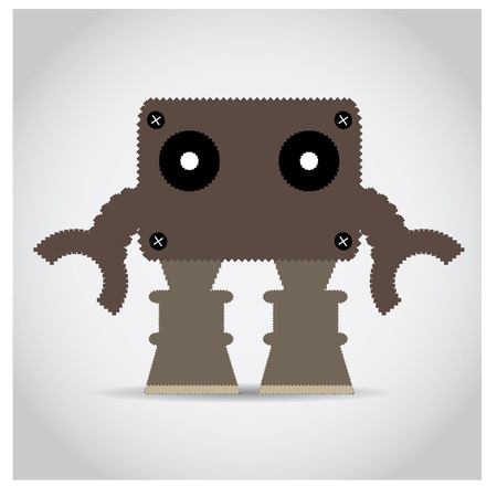 pixeled: Isolated pixeled robot on a grey background
