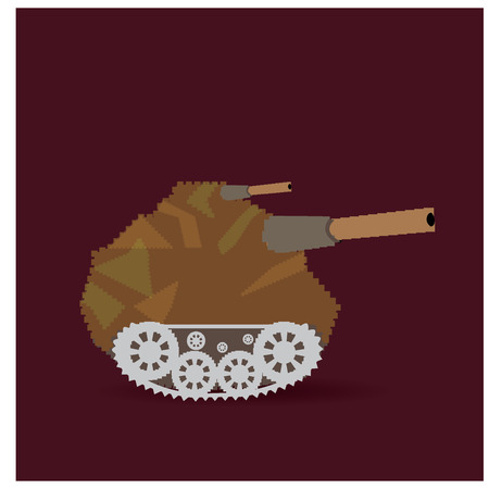 pixeled: Isolated pixeled tank on a colored background