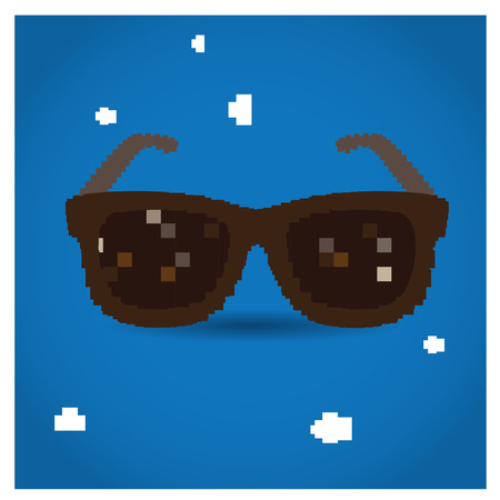 pixeled: Isolated pixeled glasses on a blue background