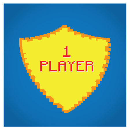 pixeled: Isolated pixeled shield with text on a blue background