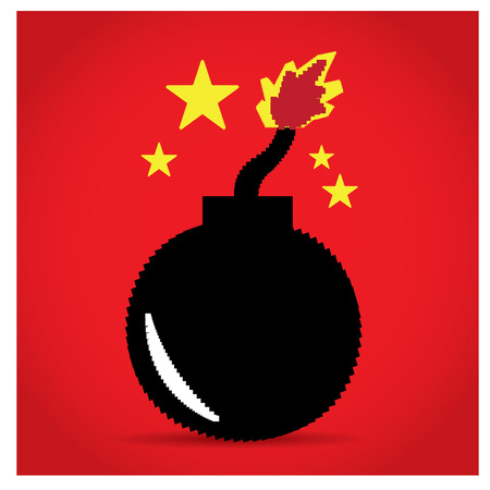 pixeled: Isolated pixeled bomb on a red background