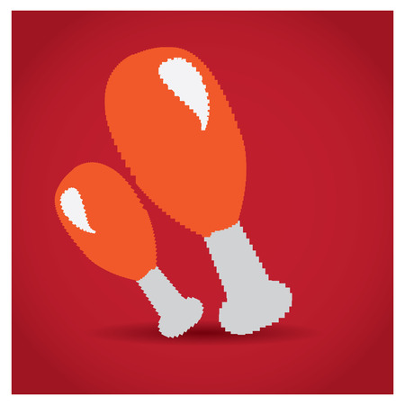 roasted: Isolated pair of pixeled roasted chickens on a colored background Illustration