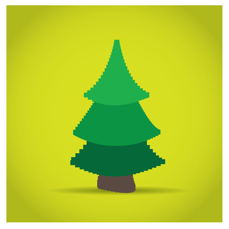 pixeled: Isolated pixeled tree on a yellow background