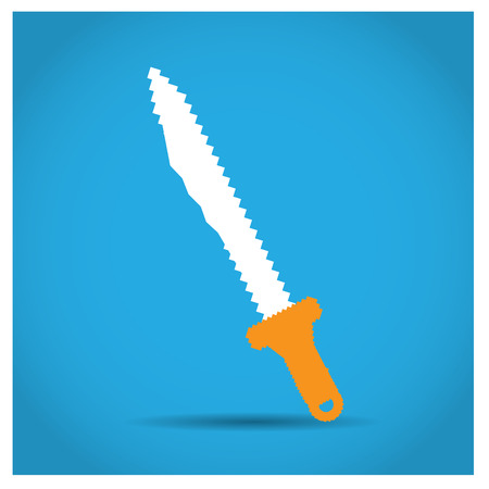 Isolated pixeled sword on a blue background