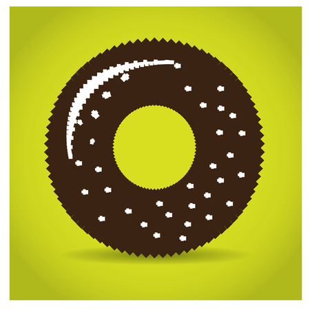 pixeled: Isolated pixeled donut on a yellow background