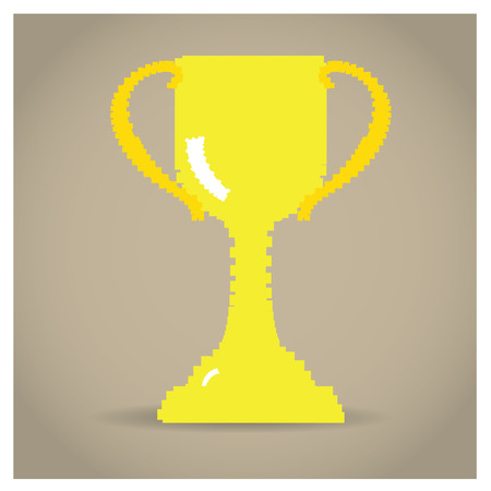pixeled: Isolated pixeled golden trophy on a colored background
