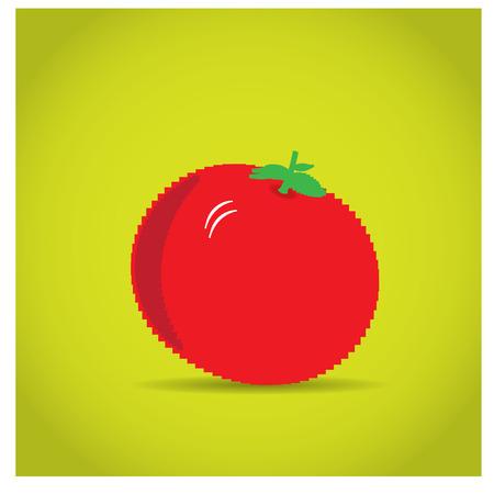 pixeled: Isolated pixeled tomato on a yellow background Illustration
