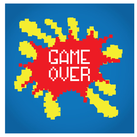 pixeled: Isolated pixeled explosion with text on a blue background