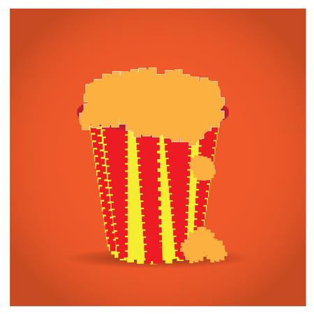 pixeled: Isolated pixeled pop corn on an orange background
