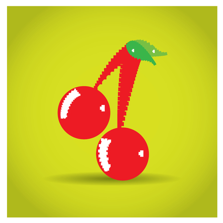 pixeled: Isolated pixeled cherry on a yellow background