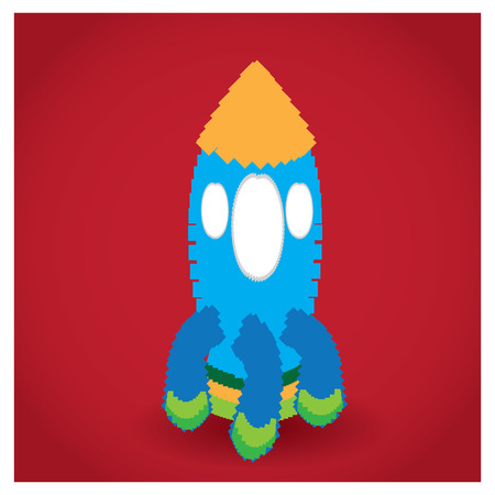 pixeled: Isolated pixeled rocket on a red background