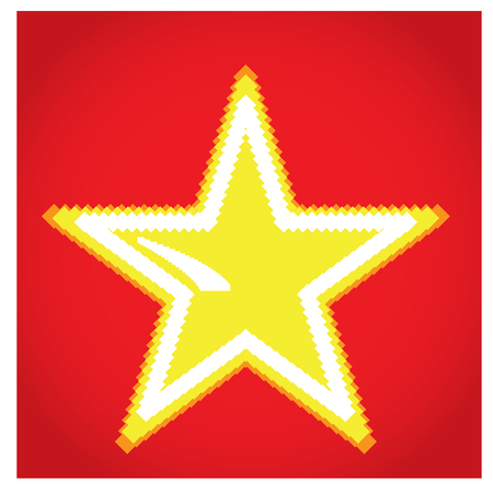 pixeled: Isolated pixeled star on a red background Illustration