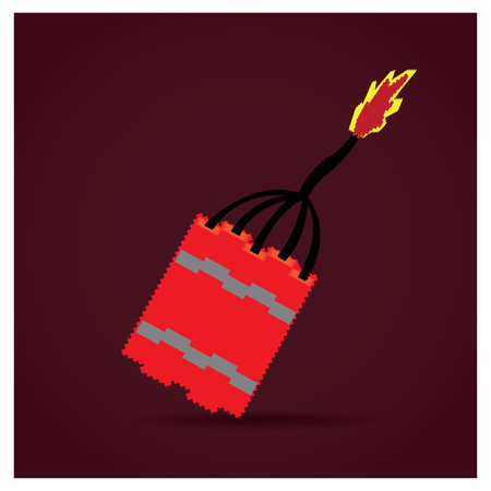 dynamite: Isolated pixeled dynamite on a red background Illustration