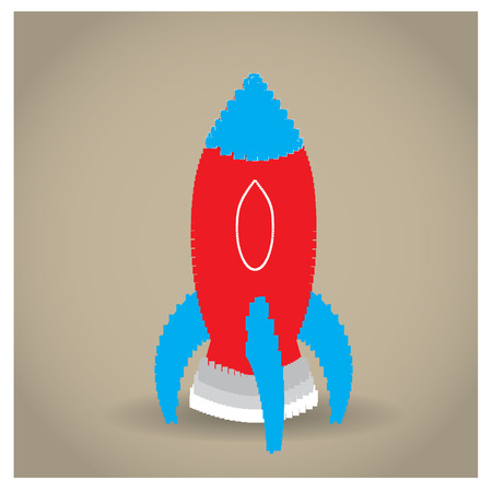 Isolated pixeled rocket on a colored background Illustration
